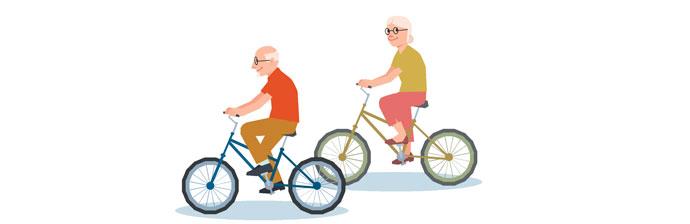 Senhores andando de bicicleta