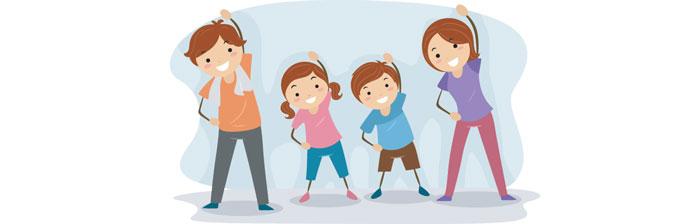 Família se exercitando juntos